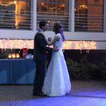 bride and groom dancing at wedding in grand beach michigan